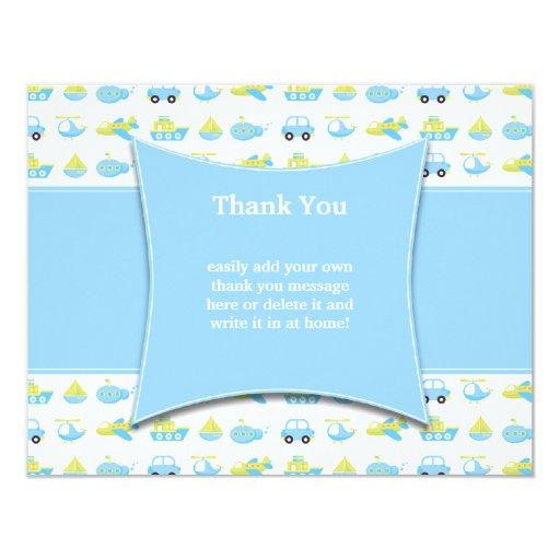 Cute blue boys travel time thank you flat card