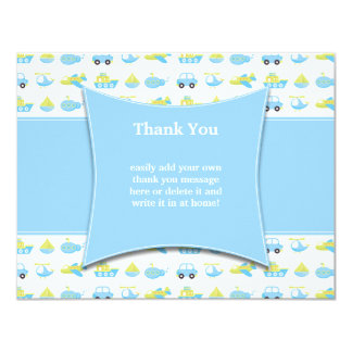 Cute blue boys travel time thank you flat card personalized invitations