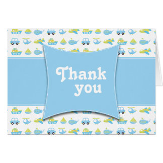 Cute blue boys travel time thank you folded card