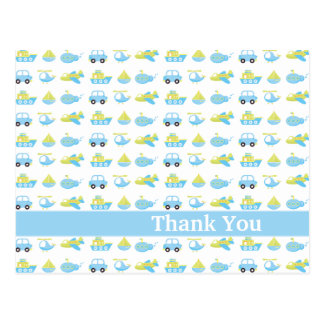 Cute blue boys travel time thank you post card
