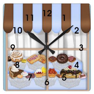 Cute Blue Brown Cupcake Sweet Bakery Square Wall Clocks