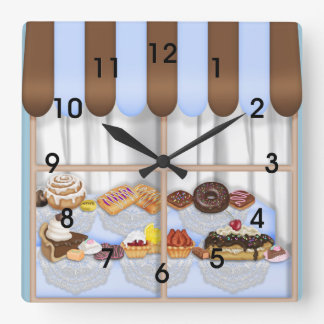 Cute Blue Brown Cupcake Sweet Bakery Square Wall Clock