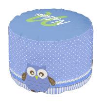 """Cute Blue/Brown/Monogram Owl"" POUF"