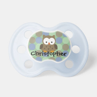 Cute Blue / Brown Owl, Personalized Boys Pacifier