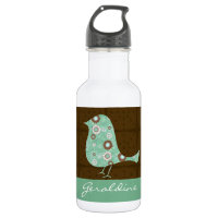 Cute Blue/Brown Pattern Bird Personalized Name Stainless Steel Water Bottle