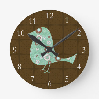 Cute Blue/Brown Pattern Bird Round Clock