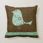 Cute Blue/Brown Pattern Bird Throw Pillow