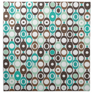 Cute blue brown seventies pattern cloth napkin