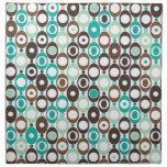 Cute blue brown seventies pattern cloth napkins