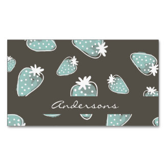 CUTE BLUE BROWN WATERCOLOUR STRAWBERRIES MONOGRAM MAGNETIC BUSINESS CARD