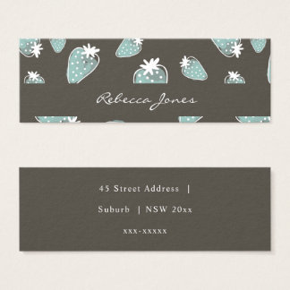CUTE BLUE BROWN WATERCOLOUR STRAWBERRIES MONOGRAM MINI BUSINESS CARD