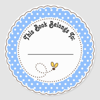 Cute Blue Bumble Bee Reading Bookplates Classic Round Sticker