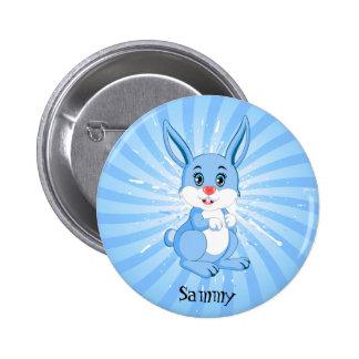 Cute Blue Bunny Cartoon Button