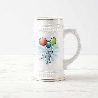 Cute Blue Bunny Flying With Balloons Easter 18 Oz Beer Stein