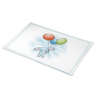 Cute Blue Bunny Flying With Balloons Easter Cloth Placemat