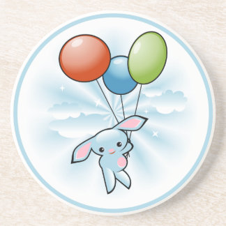 Cute Blue Bunny Flying With Balloons Easter Coaster