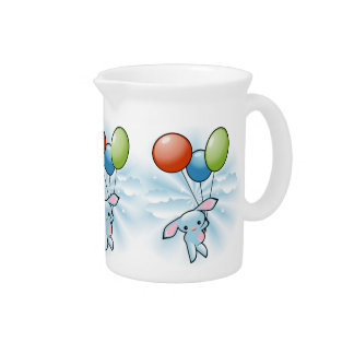 Cute Blue Bunny Flying With Balloons Easter Drink Pitcher