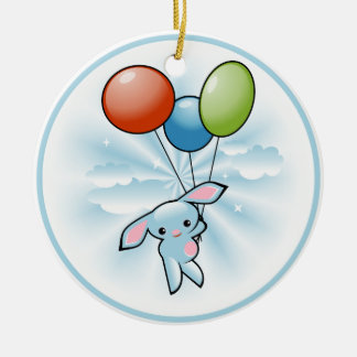 Cute Blue Bunny Flying With Balloons Easter Double-Sided Ceramic Round Christmas Ornament