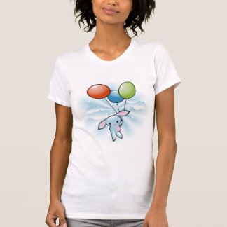 Cute Blue Bunny Flying With Balloons On White Tanktop