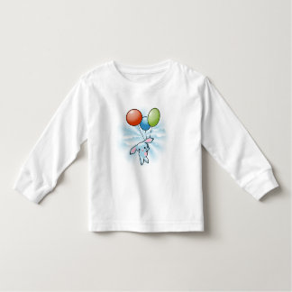 Cute Blue Bunny Flying With Balloons On White T-shirts