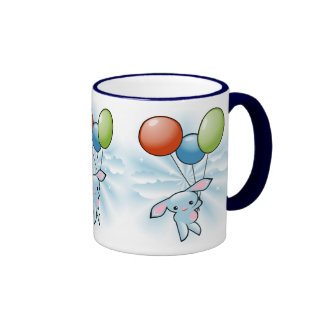 Cute Blue Bunny Flying With Balloons Ringer Coffee Mug