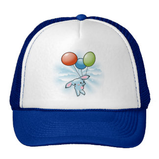 Cute Blue Bunny Flying With Balloons Trucker Hat