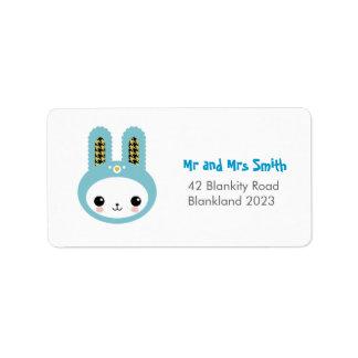 Cute Blue Bunny Head Address Label