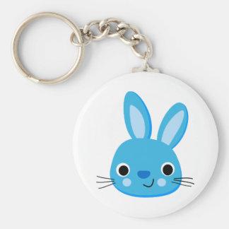 Cute Blue Bunny Rabbit Face Key Chain