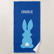 Cute Blue Bunny Silhouette Boys Personalized Beach Towel