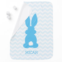 Cute Blue Bunny Silhouette Personalized Boys Baby Blanket