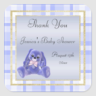 Cute Blue Bunny Thank You Baby Shower Square Sticker