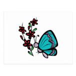 cute blue butterfly and flowers postcard