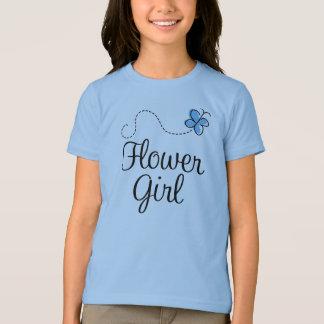 Cute Blue Butterfly Flower Girl Tee
