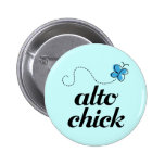 Cute Blue Butterfly Music Alto Chick Gift 2 Inch Round Button