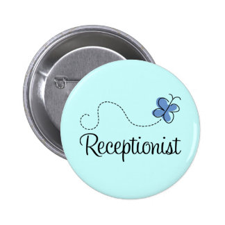Cute Blue Butterfly Receptionist Job Gift Button