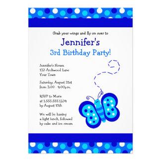 Cute Blue Butterfly w/ Polka Dots Birthday Invite