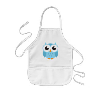 Cute blue cartoon baby owl aprons