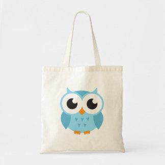 Cute blue cartoon baby owl budget tote bag