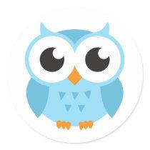 Cute blue cartoon baby owl classic round sticker