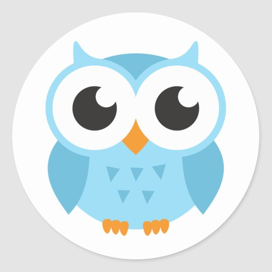 Cute blue cartoon baby owl classic round sticker
