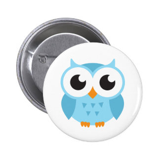 Cute blue cartoon baby owl pinback button