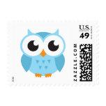 Cute blue cartoon baby owl postage