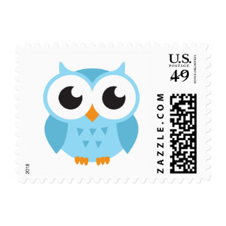 Cute blue cartoon baby owl postage