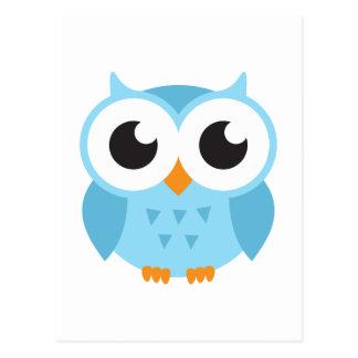 Cute blue cartoon baby owl postcard