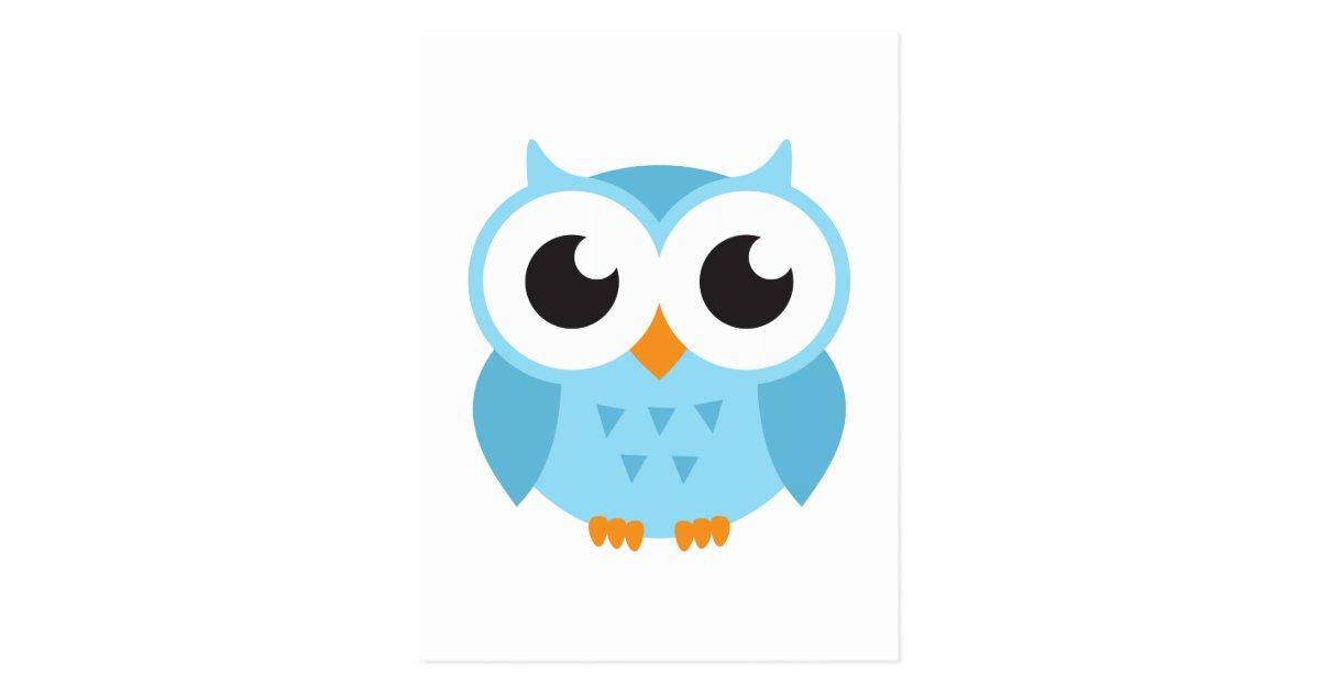 Cute Blue Cartoon Baby Owl Postcard Zazzle Com