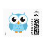 Cute blue cartoon baby owl stamps