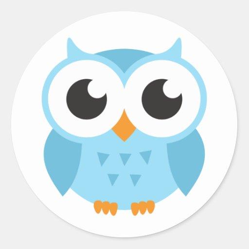 Cute blue cartoon baby owl round stickers
