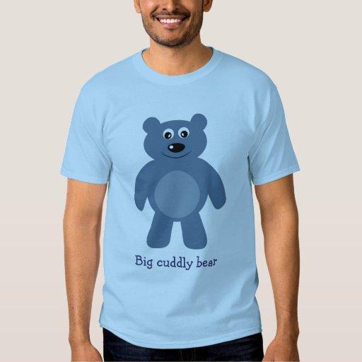 Cute blue cartoon big cuddly bear t shirt zazzle for Big blue t shirts