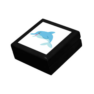 Cute Blue Cartoon Bottlenose Dolphin Jewelry Boxes
