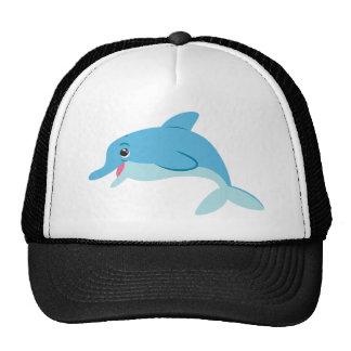 Cute Blue Cartoon Bottlenose Dolphin Trucker Hat